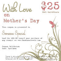 $25.00 Mothers Day eGift Certificate