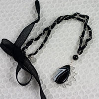 Black and White Sunrise Necklace