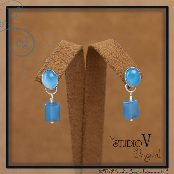 Chalcedony Blue Earrings