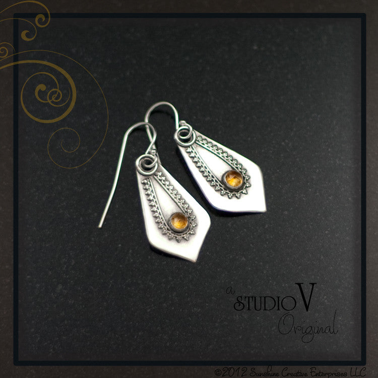 Mehndi Citrine Earrings