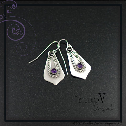 Mehndi Amethyst Earrings