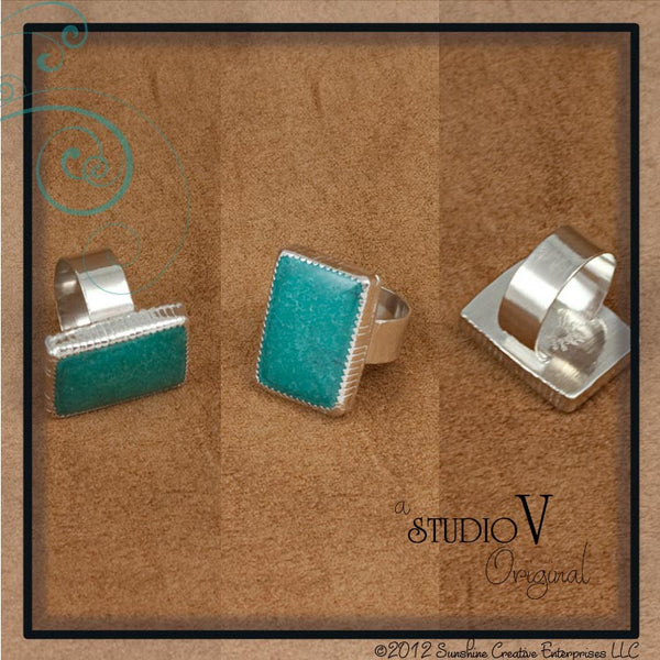 Rustic Rectangle Turquoise Ring