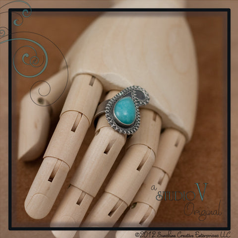 Amazonite Teardrop Paisley Ring