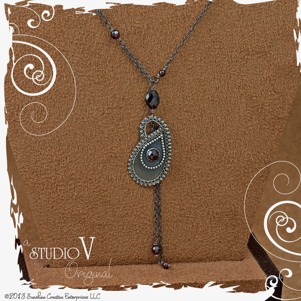 Serenity Paisley Garnet Necklace