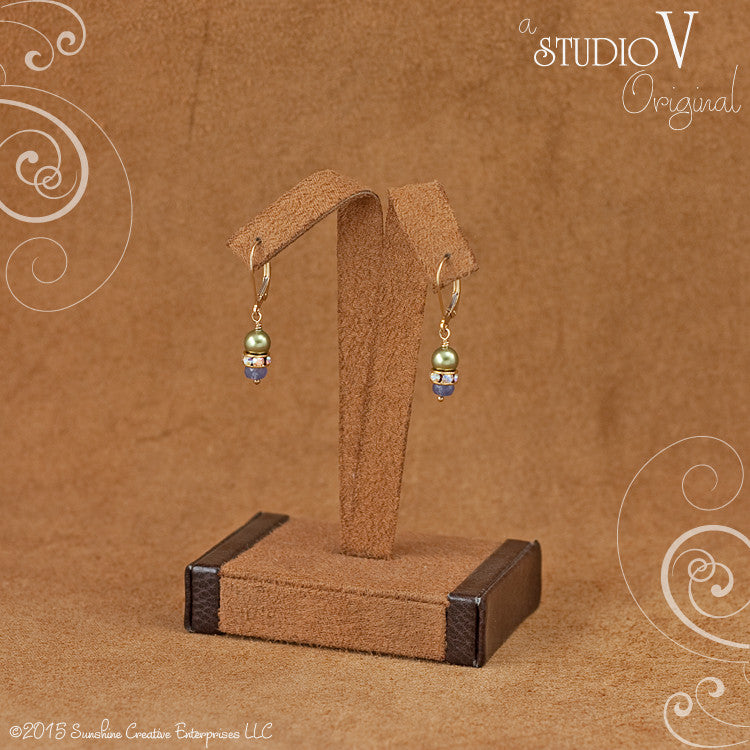 Classic Tanzanite Olive Swarovski Earrings