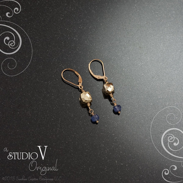 Tanzanite Golden Pyrite Earrings