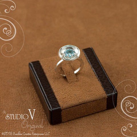 Crown Cup of Blue Topaz Ring