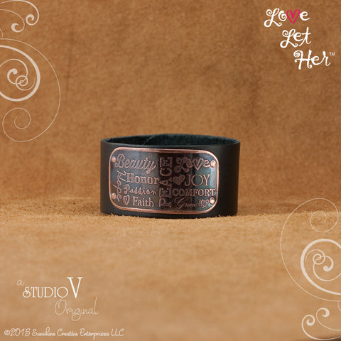 LLH Wide Black Leather Cuff