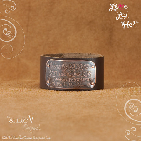 LLH Wide Brown Leather Cuff