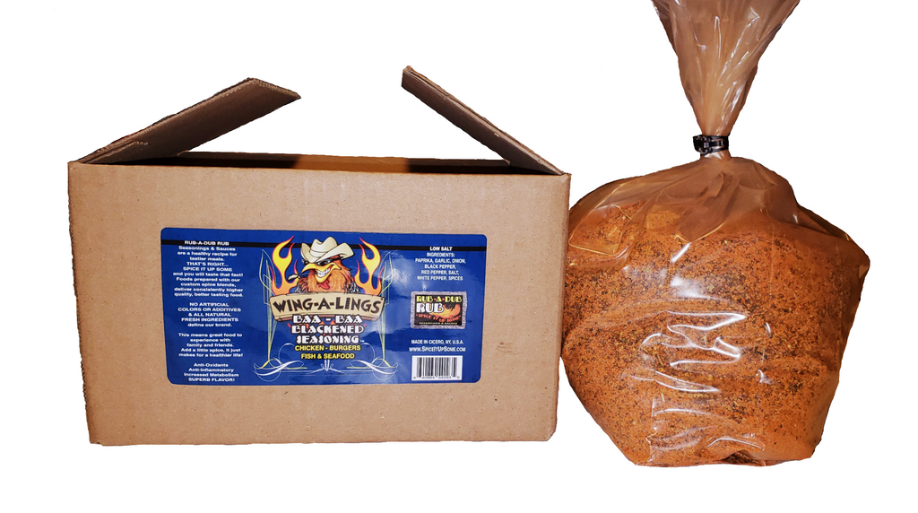 WING-A-LINGS Baa Baa Blackened Seasoning - 5LB Bulk Bag-In-A-Box