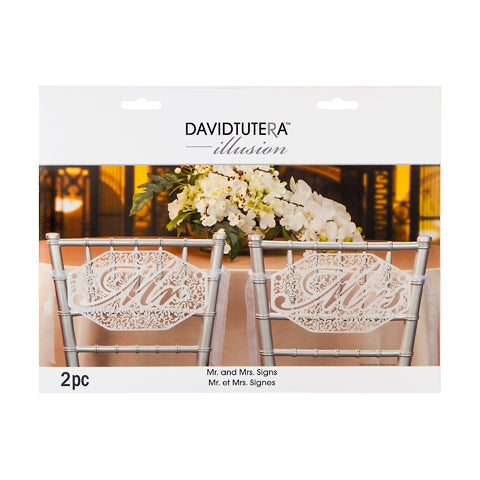 David Tutera Illusions Mr. and Mrs. Die Cut Signs