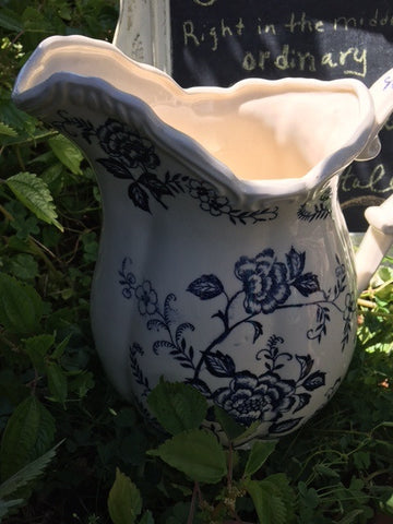 Cream and Blue Flowered Pitcher