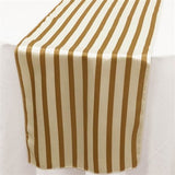 Gold and White Striped Satin Table Runners