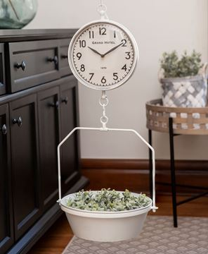White Vintage Hanging Decorative Scale w/Clock