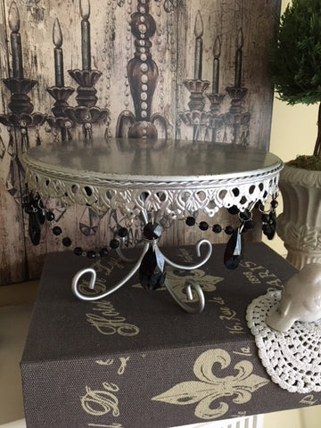 Silver and Black Beaded Cake Plate