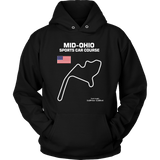 Mid Ohio Sports Car Course Track Outline Series T-shirt and Hoodie