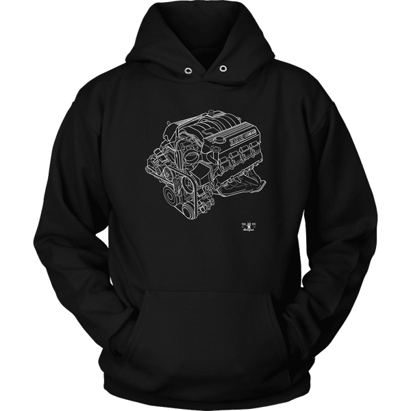 Dodge Hemi 6.4L 392 Engine Blueprint Illustration Hoodie