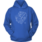 Toyota 1JZ Twin Turbo Blueprint Engine Illustration T-shirt and hoodie