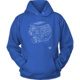 Engine Blueprint Series V8 LT5 ZR1 T-shirt and Hoodie