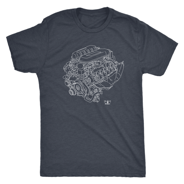 Audi R8 V10 Engine Blueprint Illustration Series T-shirt