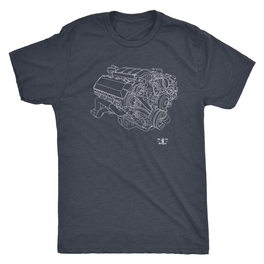 Ford Mustang Boss 302 V8 Engine Blueprint Illustration Series T-shirt