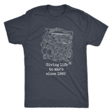 german car engine engine blueprint illustration giving life to mk2's t-shirt mens and womens
