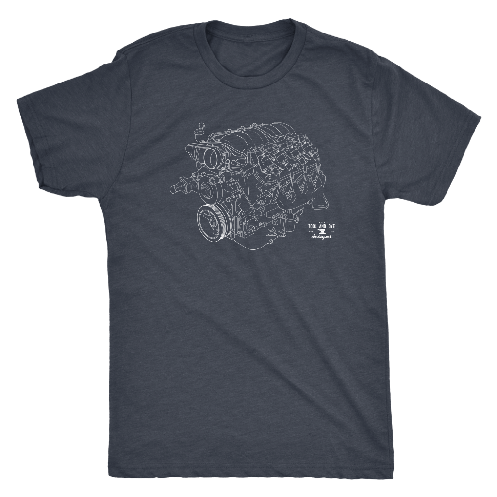 Engine Blueprint Series LS engine V8 T-shirt and Hoodie version 3