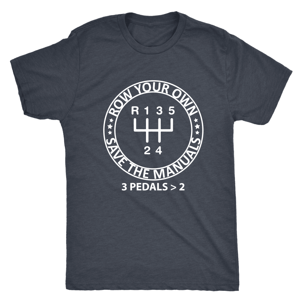 row your own gears manual transmission t-shirt