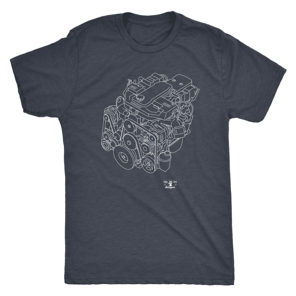 Dodge Cummins Turbo Diesel 6.7 Engine Blueprint Illustration Series T-shirt