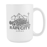 Northwest Rain City Ratrod Coffee Mug White 15 oz