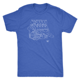 Volvo V8 Race Engine Blueprint Illustration Series T-shirt
