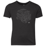 Dodge Hellcat engine blueprint illustration kids tri-blend shirt