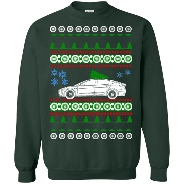 Electric Car Tesla Model 3 ugly christmas sweater