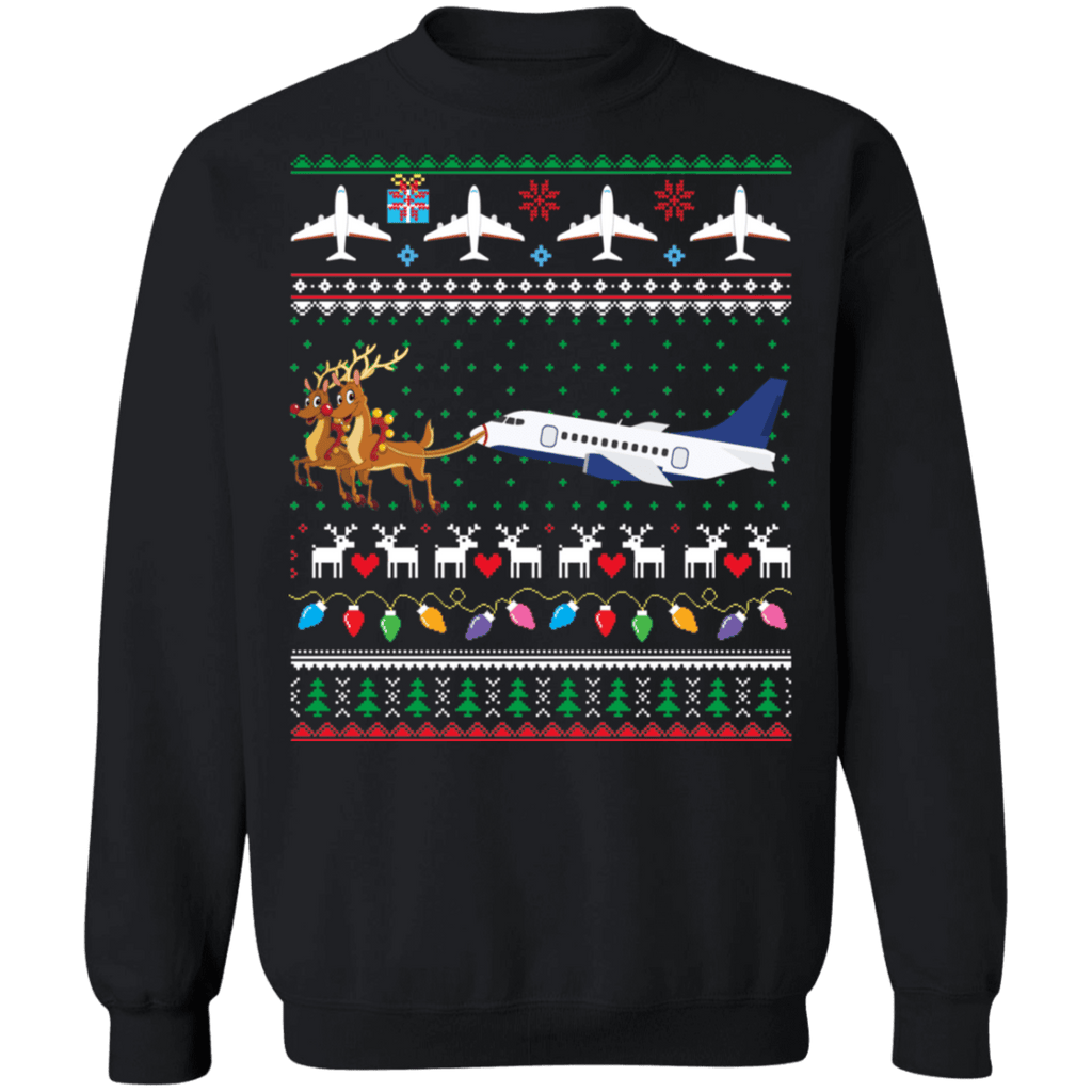 Airplane jet reindeer ugly christmas sweater sweatshirt