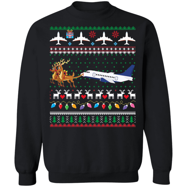 Airplane jet reindeer ugly christmas sweater