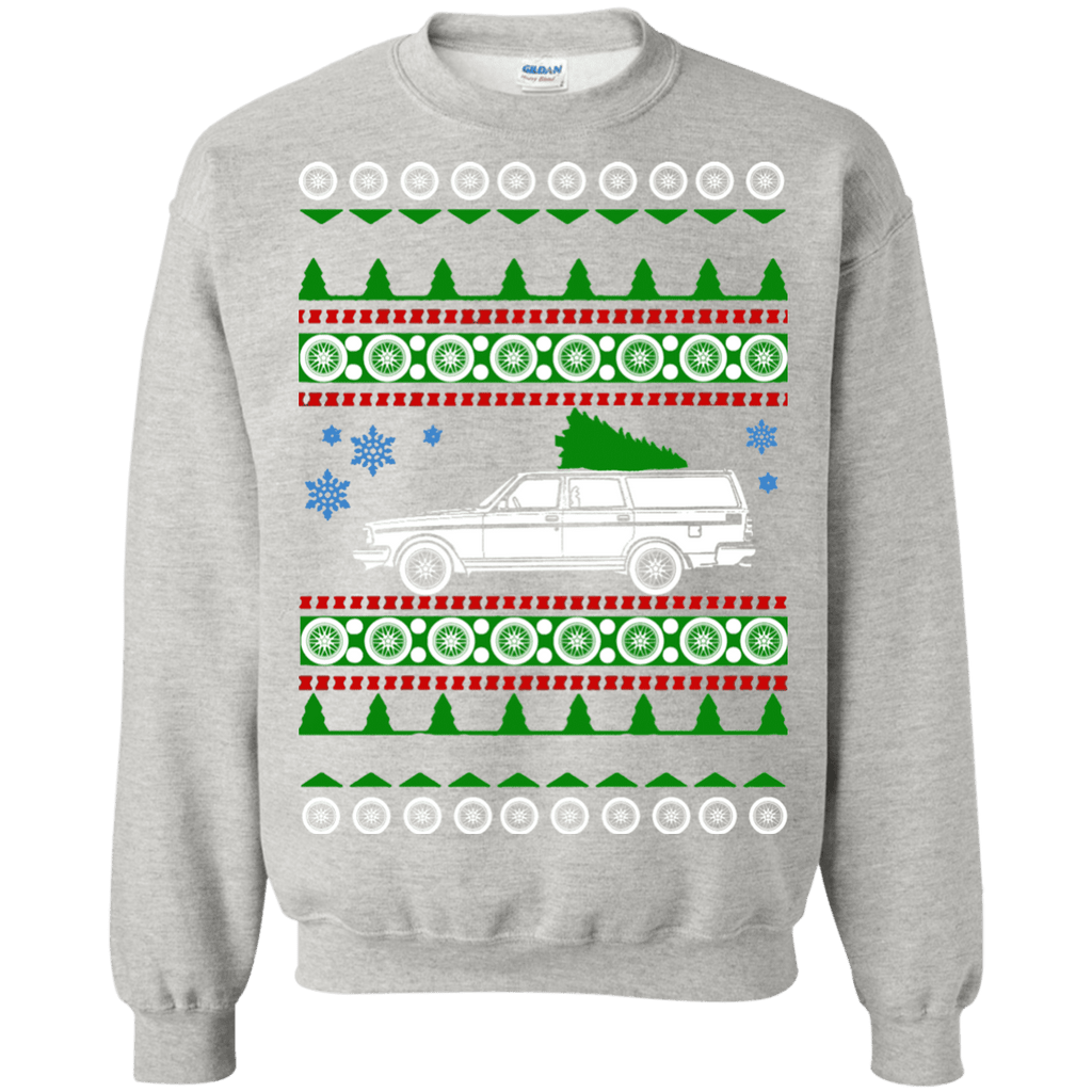 Volvo 245 Wagon Ugly Christmas Sweater Crewneck