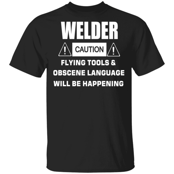 Caution Welder Tools Flying T-shirt