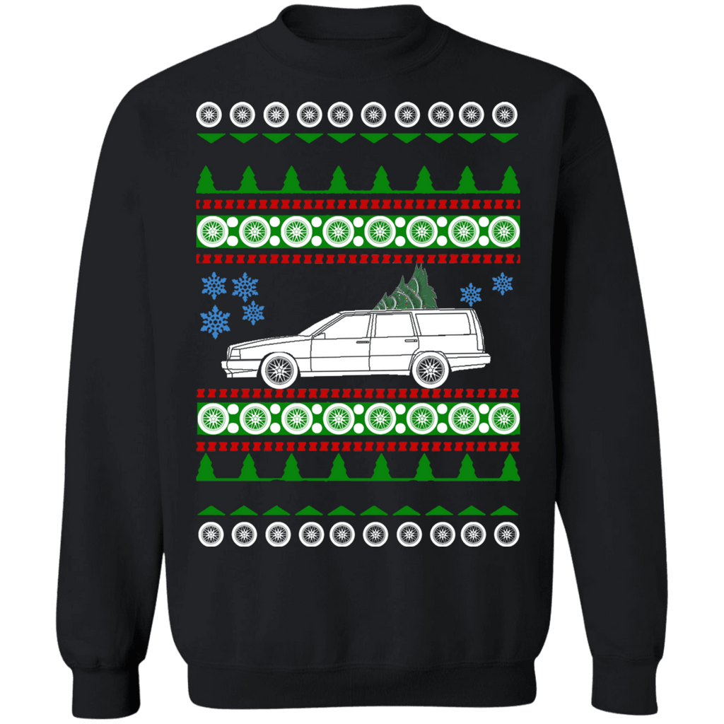 Swedish Car like Volvo 850 wagon 850R Ugly Christmas Sweater