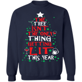 The Tree isn't the only thing getting LIT this year funny drinking ugly christmas sweater sweatshirt