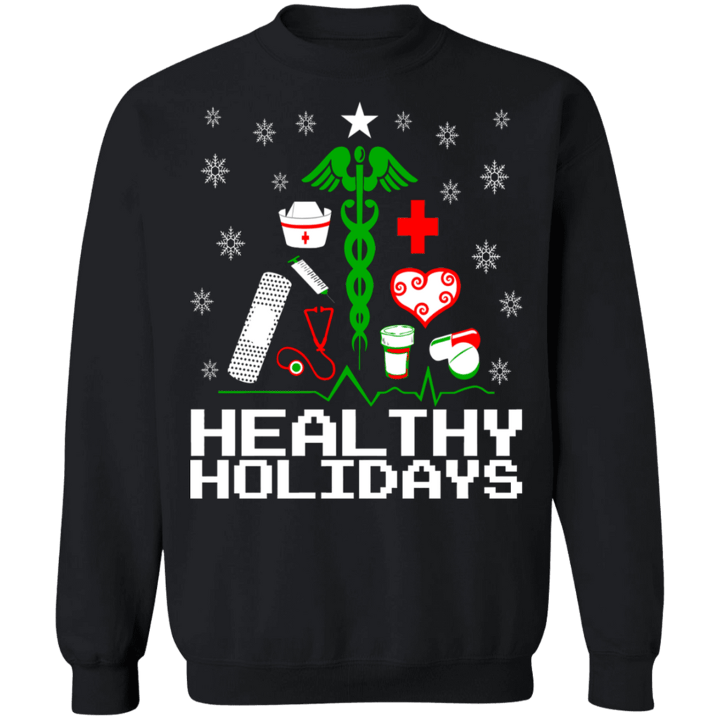 Healthy Holidays Christmas Tree Nursing Ugly Christmas Sweater Sweatshirt