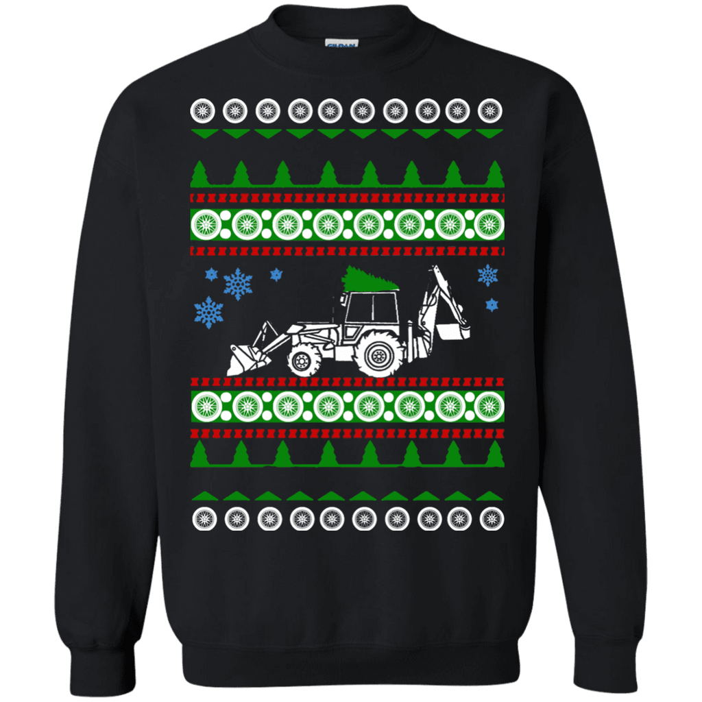 Backhoe ugly christmas sweater heavy equipment construction excavator sweatshirt