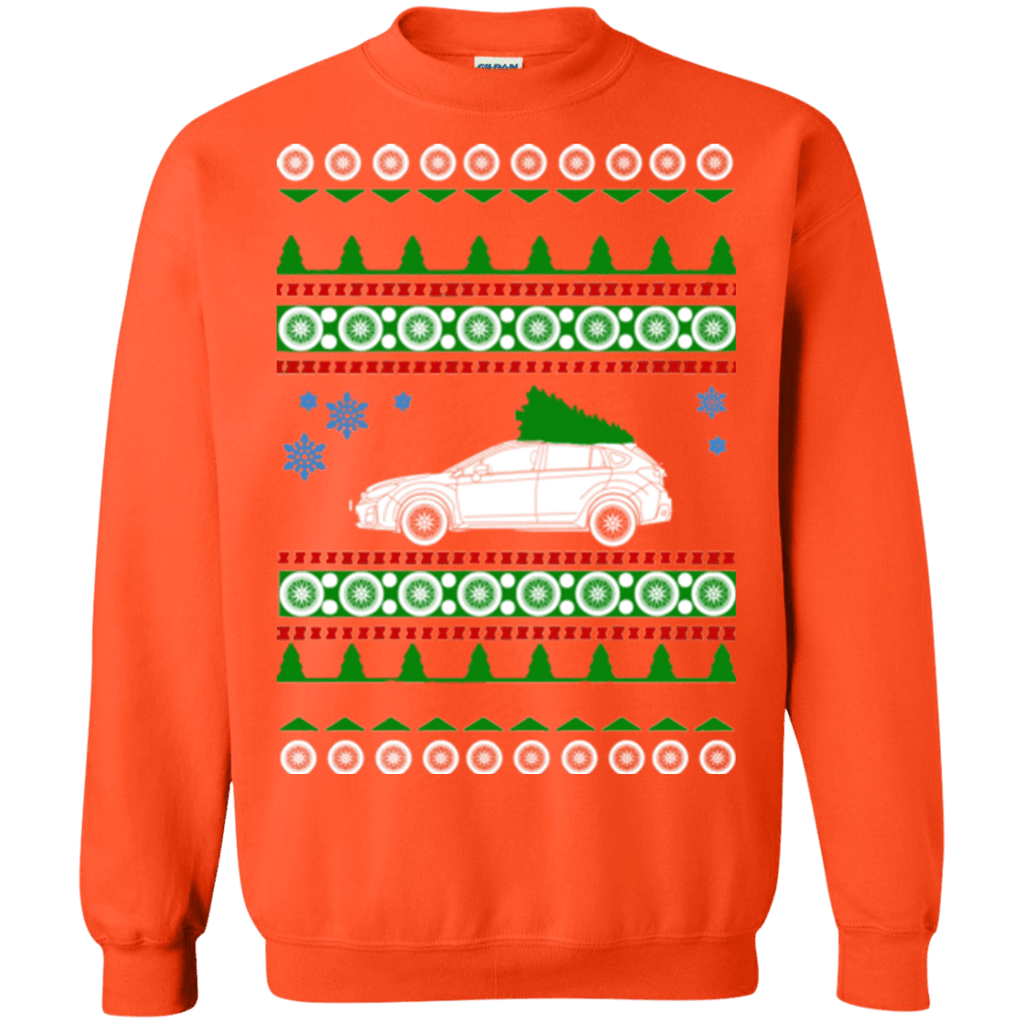 Orange Crosstrek ugly christmas sweater subaru special