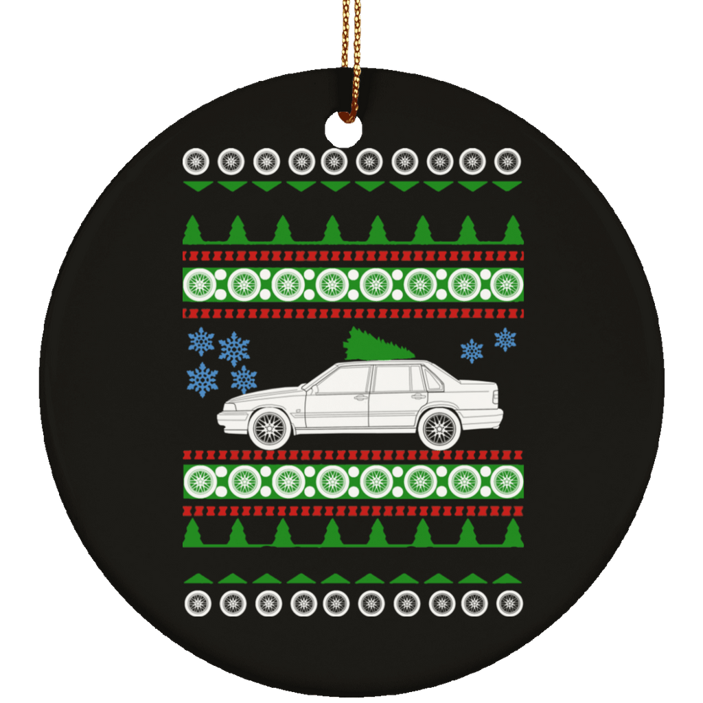 Volvo 1996 960 Sedan Ugly Christmas Sweater Ornament