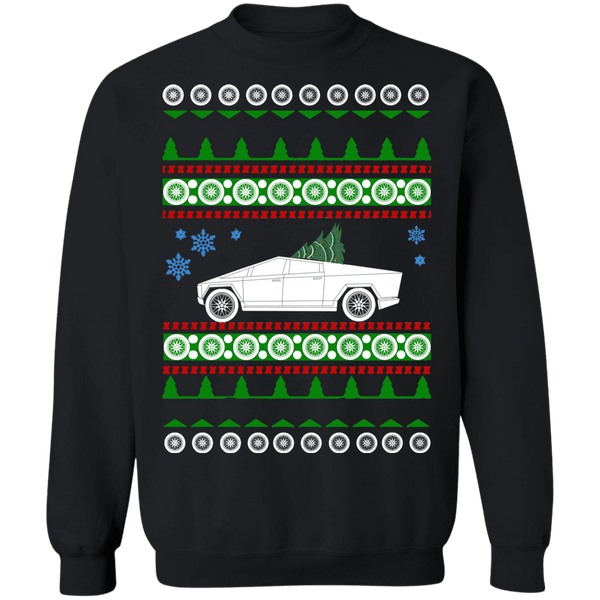 Electric Truck like Tesla CyberTruck Ugly Christmas Sweater Sweatshirt sweatshirt