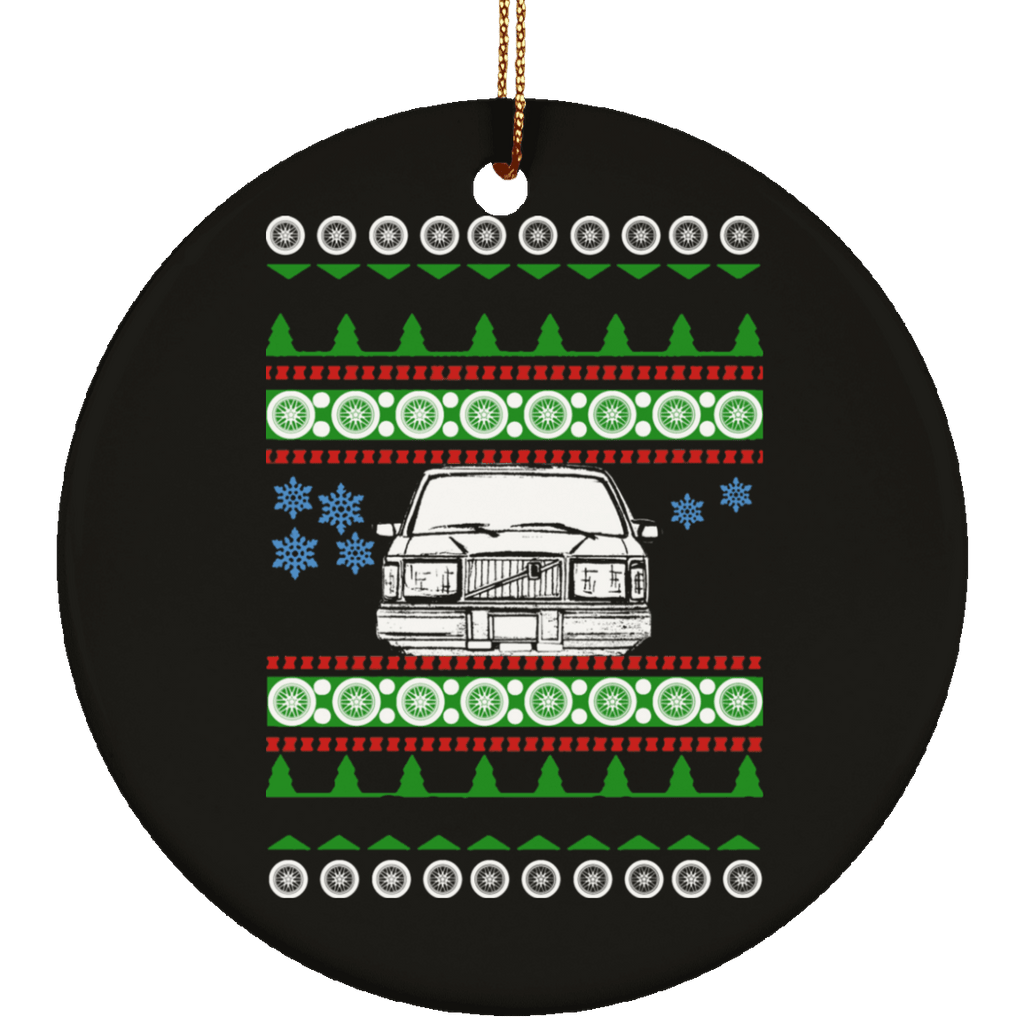 Volvo 240 245 front view Ugly Christmas Sweater Ornament