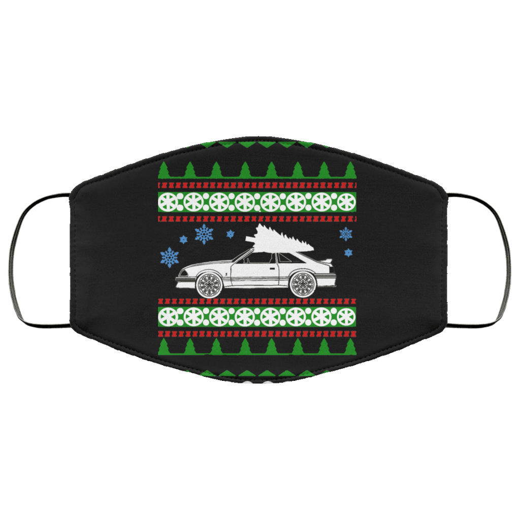 Mustang GT ugly christmas sweater style face mask