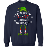 I just like to Teach, teaching is my favorite Ugly Christmas Sweater sweatshirt