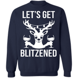 let's get Blitzened Funny drinking lit ugly christmas sweater sweatshirt