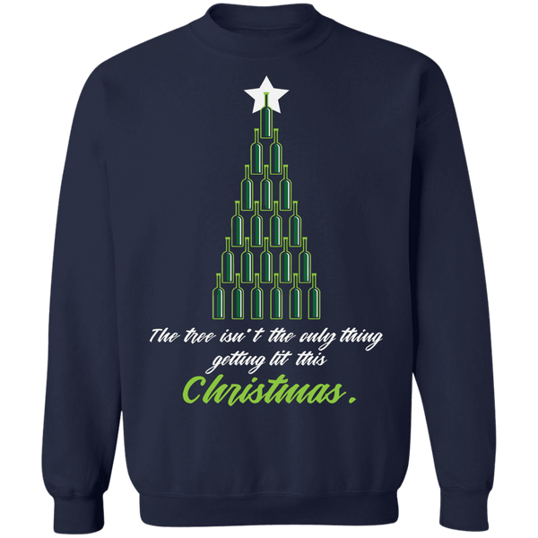 The tree isn't the only thing getting lit funny drinking Ugly Christmas Sweater sweatshirt
