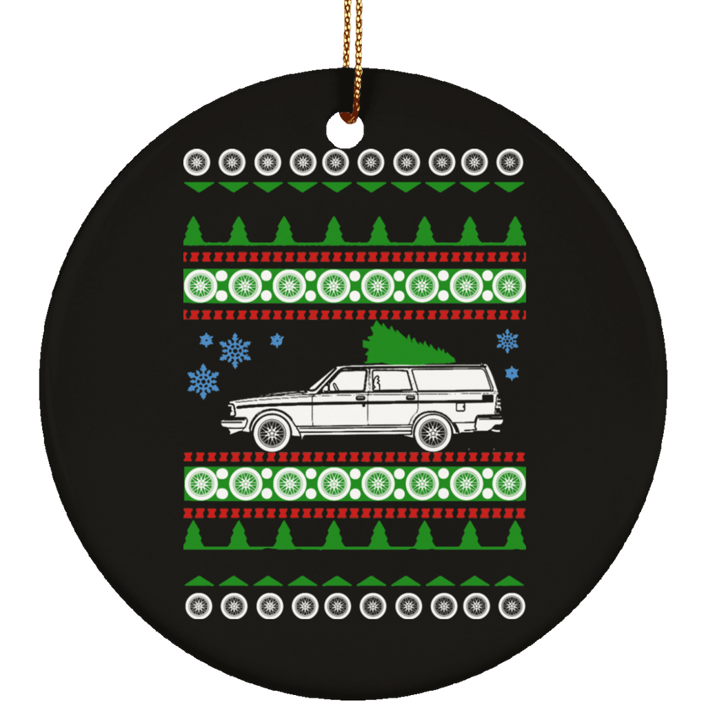 Volvo 245 wagon ugly christmas sweater ornament